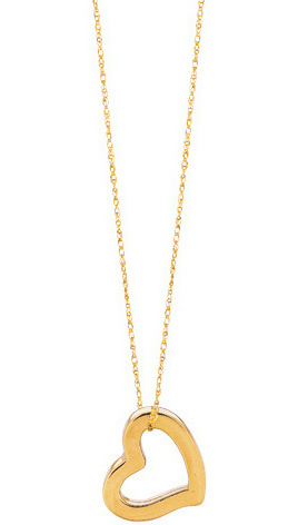 "18"" 14K Yellow Gold 5R Carded Rope Chain w/ Square Tube Heart Like Pendant Necklace w/ Spring Ring Clasp"