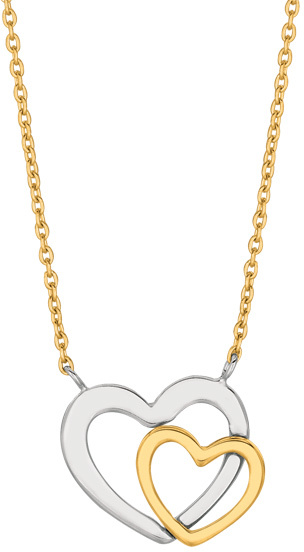 "18"" 14K Yellow Gold 1.1mm (0.04"") Lcab030 Cable Chain w/ Pear Shape Clasp & 2 Open Heart 2 Tone Pendant"