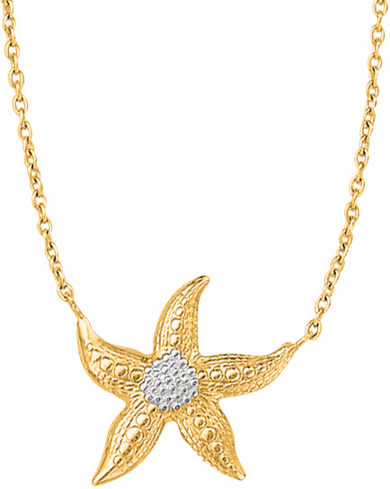 "18"" 14K Yellow & White Gold Link Necklace w/ Starfish Pendant"