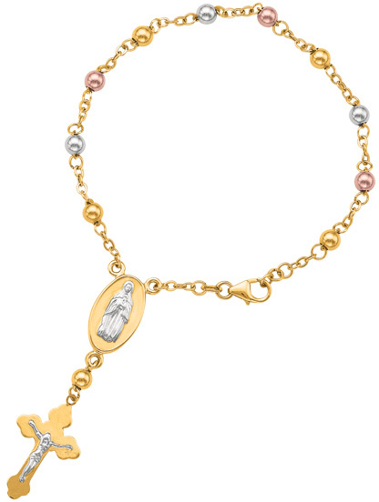 "7"" 14K Yellow & White & Rose Gold Shiny Cable Chain w/ Bead & Cross w/ Pear Shape Clasp Symbolic Bracelet"