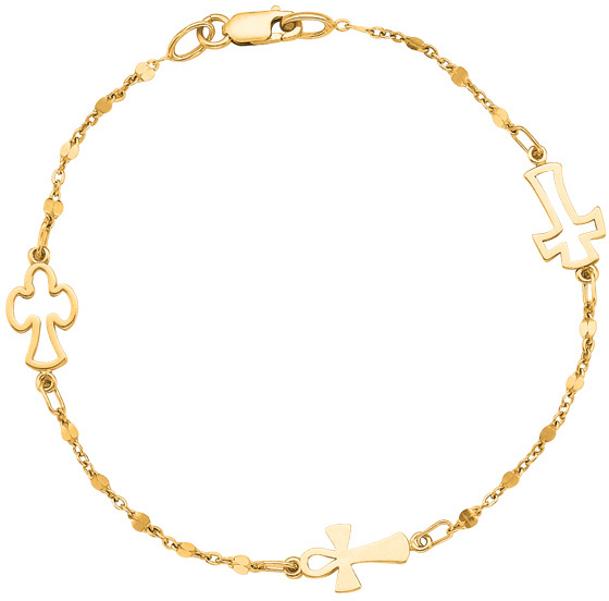 "7"" 14K Yellow Gold Polished Cable Chain & Lobster Clasp & Station Open Cross Religious Bracelet"