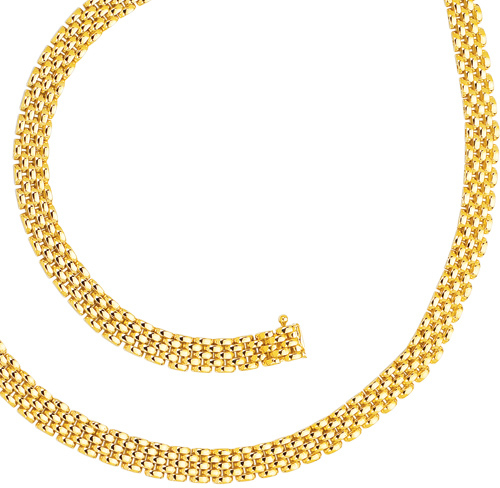 "7"" 14K Yellow Gold 6.5mm (1/4"") Polished 5 Row Panther Chain Link Bracelet w/ Box Catch Clasp"