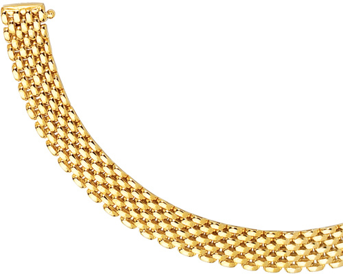 "7"" 14K Yellow Gold 9.0mm (1/3"") Polished 7 Row Panther Chain Link Bracelet w/ Box Catch Clasp"