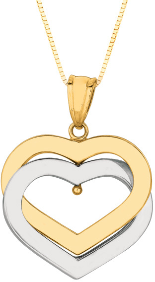"18"" 14K Yellow & White Gold Polished Double Open Heart Pendant On Box Chain Necklace"