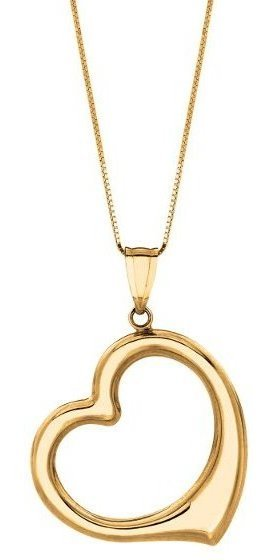 "18"" 14K Yellow Gold Shiny Box Chain w/ Spring Ring Clasp & Open Heart Pendant"