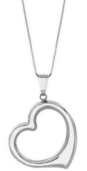 "18"" 14K White Gold Shiny Box Chain w/ Spring Ring Clasp & Open Heart Pendant"