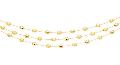 "17"" 14K Yellow Gold 1.1mm (0.04"") Cable Chain Link w/ Alternate Polished Textured Tube Pebble Necklace w/ Lobster Clasp"