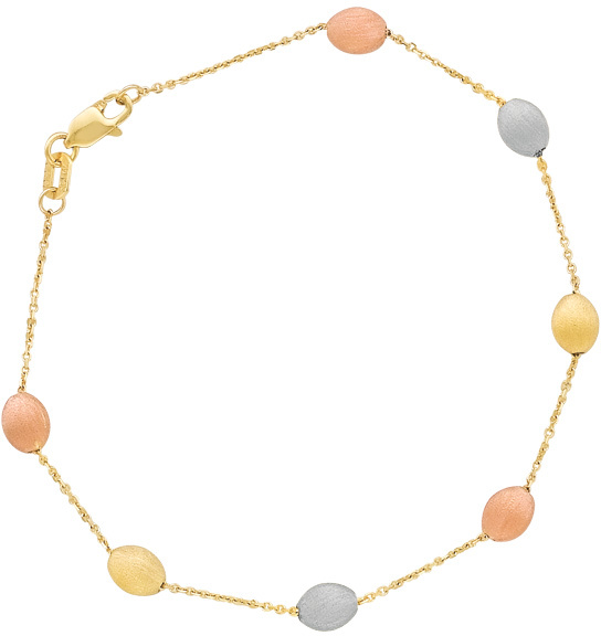 "17"" 14K Yellow Gold 1.1mm (0.04"") Cable Chain Link w/ Alternate Yellow, White & Rose Gold Polished Textured Tube Pebble Necklace w/ Lobster Clasp"