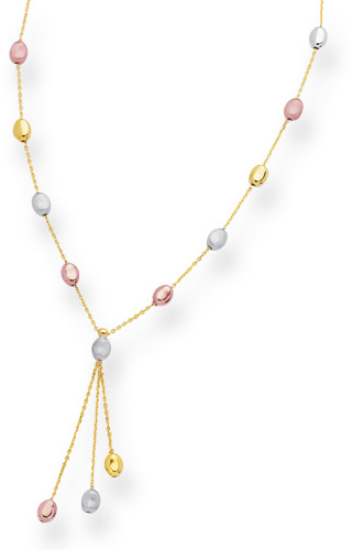 "10"" 14K Yellow, White & Rose Gold Polished Alternate Cable Chain Link w/ Tri Color Pebble Like Adjustable Anklet w/ Lobster Clasp"