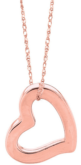 "18"" 14K Rose Gold 0.75mm (0.03"") Polished Carded Rope Like Chain w/ Spring Ring Clasp & Open Heart Pendant"