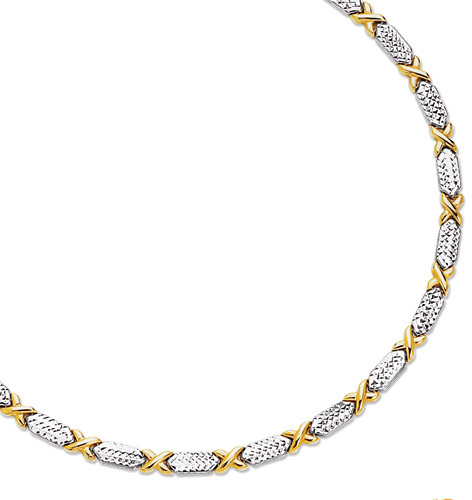 "7.25"" 14K Yellow & White Gold 5.0mm (1/5"") Alternate Yellow X Like Shape w/ Diamond Cut White Long Rectangular Shape Fancy Bracelet"