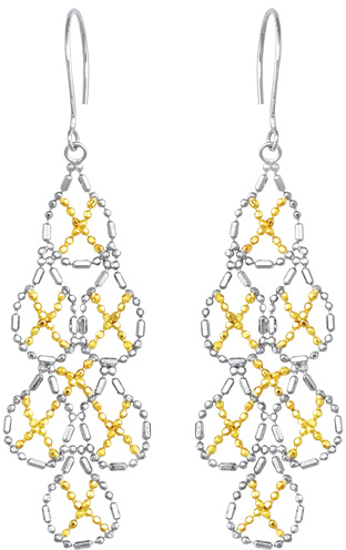 14K Yellow Gold & Rhodium Plated 925 Sterling Silver Shiny Beaded Teardrop Fancy Drop Earrings