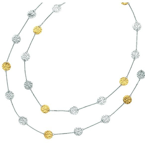 "32"" 14K Yellow Gold & Rhodium Plated 925 Sterling Silver Shiny Rolo Chain & Hammered Disc Fancy Necklace"