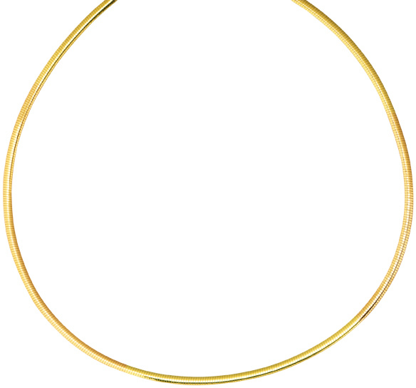 "20"" 3.0mm (1/8"") 14K Yellow Gold & Rhodium Plated 925 Sterling Silver Reversible (Yellow Gold / Silver) Omega Necklace w/ Pear Shape Clasp"