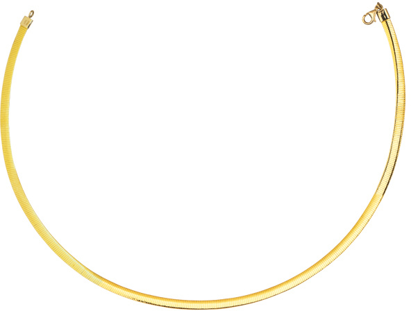 "16"" 4.0mm (1/6"") 14K Yellow Gold & Rhodium Plated 925 Sterling Silver Reversible (Yellow Gold / Silver) Omega Necklace w/ Pear Shape Clasp"
