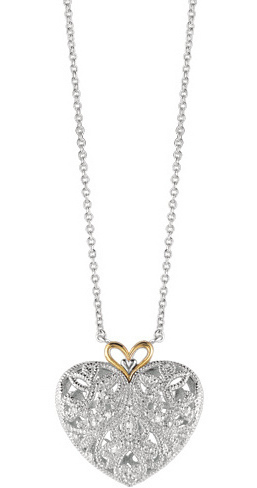 "18"" 14K Yellow Gold & Rhodium Plated 925 Sterling Silver Shiny Oval Link Chain Necklace w/ Fancy Heart Pendant & 0.10ct Diamond"
