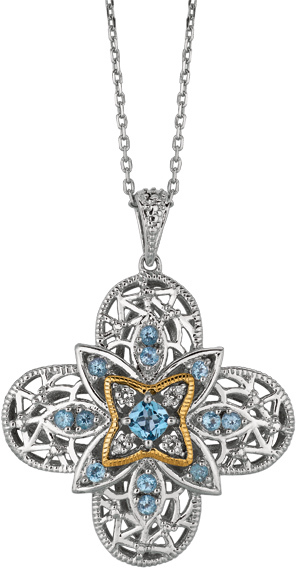 "18"" 14K Yellow Gold & 925 Sterling Silver Oxidized & Rhodium Plated Oval Link Chain Necklace w/ Flower Pendant & 0.04ctw Diamond & Blue Topaz"