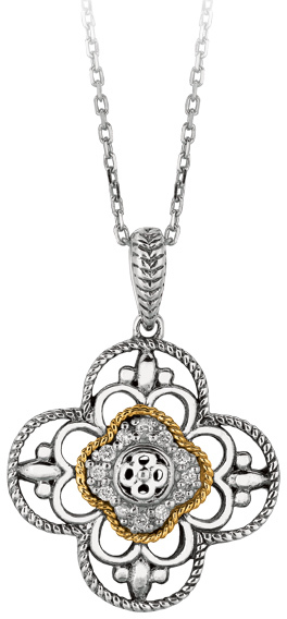 "18"" 14K Yellow Gold & Rhodium Plated 925 Sterling Silver Shiny Oval Link Chain Necklace w/ 4 Leaf Fancy Flower Pendant & 0.08ctw Diamond"