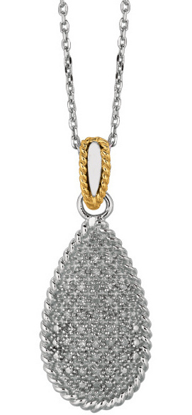 "18"" 14K Yellow Gold & Rhodium Plated 925 Sterling Silver Shiny Oval Link Chain Necklace w/ Teardrop Pendant & 0.31ctw Diamond"