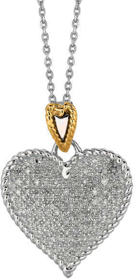 "18"" 14K Yellow Gold & Rhodium Plated 925 Sterling Silver Shiny Oval Link Chain Necklace w/ Heart Pendant & 0.32ctw Diamond"