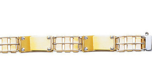 "8.5"" 14K Yellow & White Gold 11.20mm (0.44"") Alternate Long Polished Rectangular & Railroad Like Link Mens Bracelet w/ Fancy Box Catch Clasp"