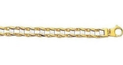 "8"" 14K Yellow & White Gold 8.0mm (1/3"") Railroad Like w/ White Bar Link Men's Bracelet w/ Fancy Lobster Clasp"
