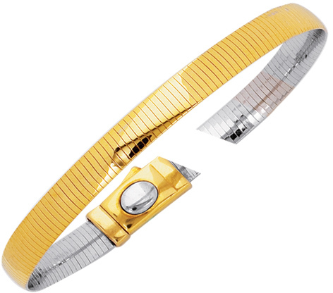 "7"" 14K Yellow & White Gold 6.0mm (1/4"") Polish Diamond Cut Reversible Omega Bracelet w/ Box Catch"