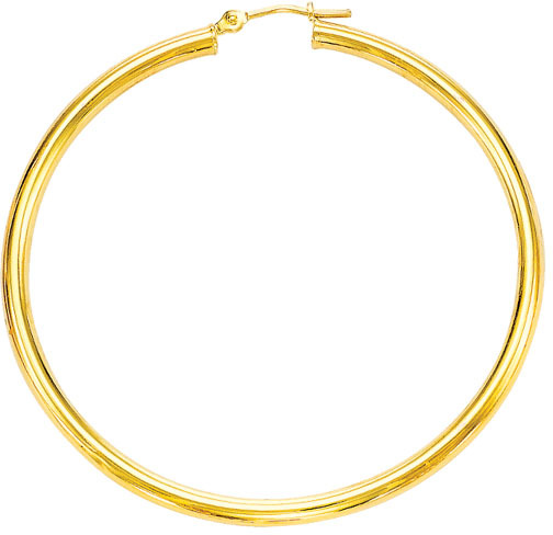 "14K Yellow Gold Shiny 2.0x55mm (0.08""x2.17"") Round Tube Hoop Earrings"