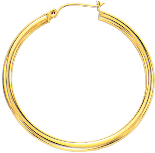 "14K Yellow Gold Polished 2.0x45mm (0.08""x1.77"") Round Tube Hoop Earrings"