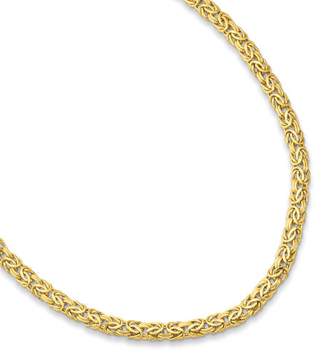 "7.25"" 14K Yellow Gold 7.2mm (2/7"") Lite Byzantine Fancy Bracelet w/ Fancy Pear Shape Clasp"