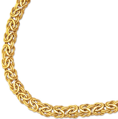 "18"" 14K Yellow Gold 7.2mm (2/7"") Shiny Byzantine Fancy Necklace w/ Pear Shape Clasp"