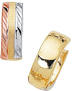 "14K Yellow, Rose & White Gold Shiny 5.0mm (1/5"") Tri-Color Snuggable Huggie Hoop Earrings"