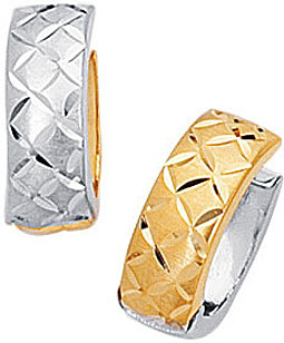 "14K Yellow & White Gold Diamond Cut Polished 5.0mm (1/5"") 2 Tone Snuggable Earrings"