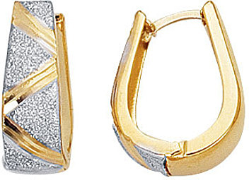 14K Yellow & White Gold Textured Polished Flat Graduated 2 Tone Snuggable Earrings