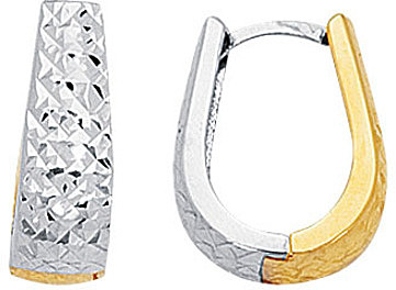 14K Yellow & White Gold Diamond Cut Shiny Graduated Two Tone Snuggable Huggie Hoop Earrings