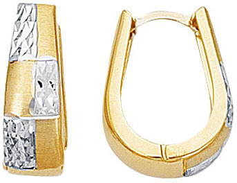 14K Yellow & White Gold Diamond Cut Shiny Graduated Two Tone Snuggable Huggie Hoop Earrings w/ Squares