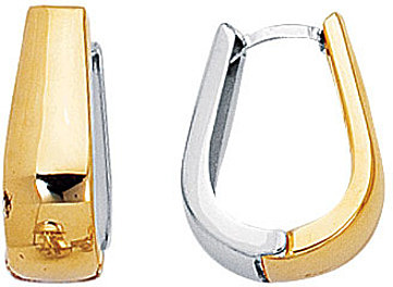 14K Yellow & White Gold Polished Flat Graduated 2 Tone Snuggable Earrings