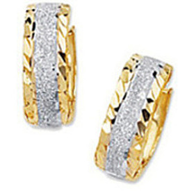 "14K Yellow & White Gold Diamond Cut Shiny 5.0mm (1/5"") Two Tone Snuggable Huggie Hoop Earrings w/ Sparkle"