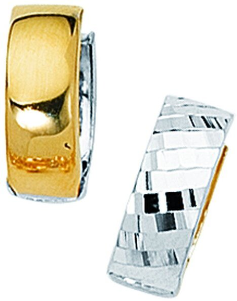 "14K Yellow & White Gold Diamond Cut Shiny 5.0mm (1/5"") Two Tone Snuggable Huggie Hoop Earrings w/ Diamond Pattern"