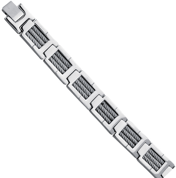 "Stainless Steel 8.5"" Shiny 3-Strand Cable Wire Fancy Bracelet w/ Clasp"