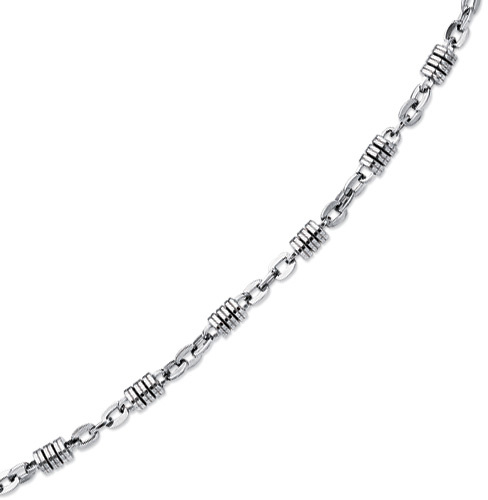 "Stainless Steel 22"" Shiny Fancy Chain with Pear Shape Clasp"