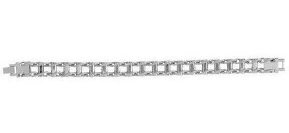 "Stainless Steel 8.5"" White Finish Rail Road Style Mens Bracelet"