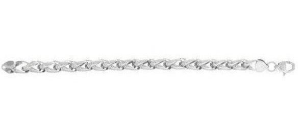 "Stainless Steel 9"" White Finish Loosely Braided Mens Bracelet"