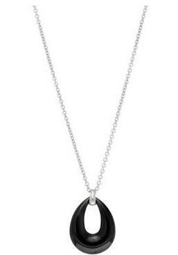 "17"" + 1"" Stainless Steel & Black Ceramic Rhodium Plated Necklace (BTSS851-18)"
