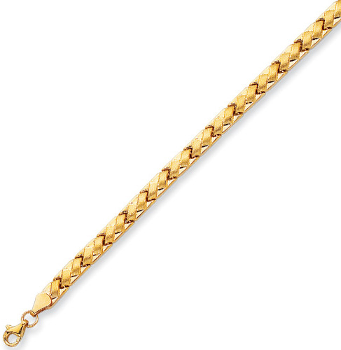 "7.25"" 14K Yellow Gold 5.15mm (1/5"") Polished Textutred Basket Weaved Like Fancy Bracelet w/ Pear Shape Clasp"