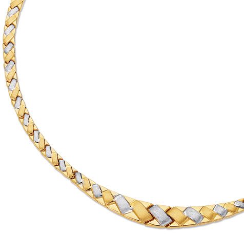 "17"" 14K Yellow & White Gold 6.0-10.0mm Texture White X Like w/ Yellow Edge Fancy Necklace w/ Pear Shape Clasp - DISCONTINUED"