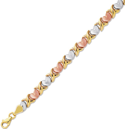"7.25"" 14K Yellow, White & Rose Gold 6.0mm (1/4"") Textured Polished Alternate X & Heart Like Tri Color Bracelet w/ Pear Shape Clasp"