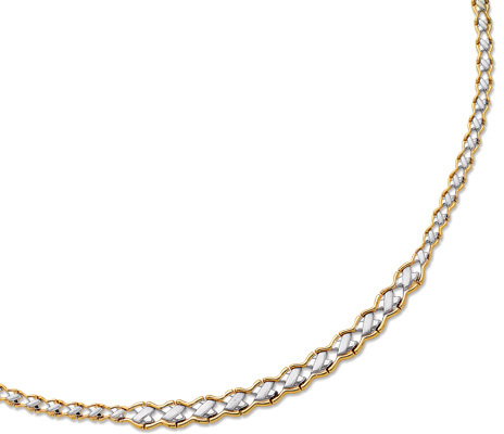 "17"" 14K Yellow & White Gold 5.0-10.0mm (0.2""-0.39"") Graduated Texture Weaved Like Fancy Necklace w/ Pear Shape Clasp - DISCONTINUED"