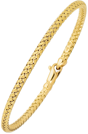 "7.25"" 14K Yellow Gold 3.45mm (1/8"") Textured Round Tube Goldenweaved Rope Like Fancy Bangle Bracelet w/ Fancy Lobster Clasp"