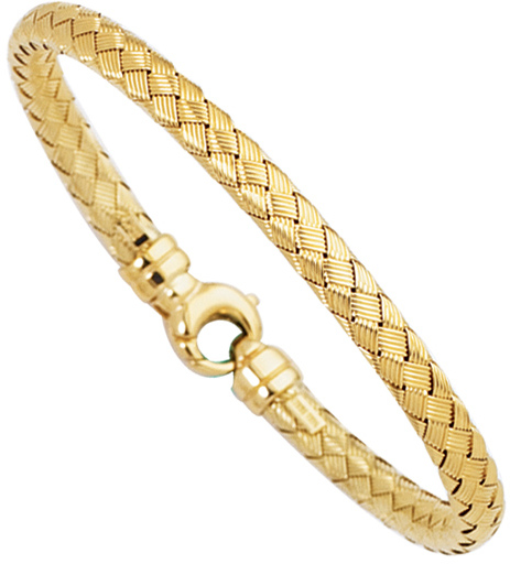 "7.25"" 14K Yellow Gold 6.0mm (1/4"") Diamond Cut Flat Round Tube Goldenweaved Design Fancy Bangle Bracelet w/ Round Fancy Clasp"